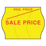 22x16mm Meto REGULAR and SALE Price Label, Permanent Adhesive, Tamper Proof, Fluoro Yellow